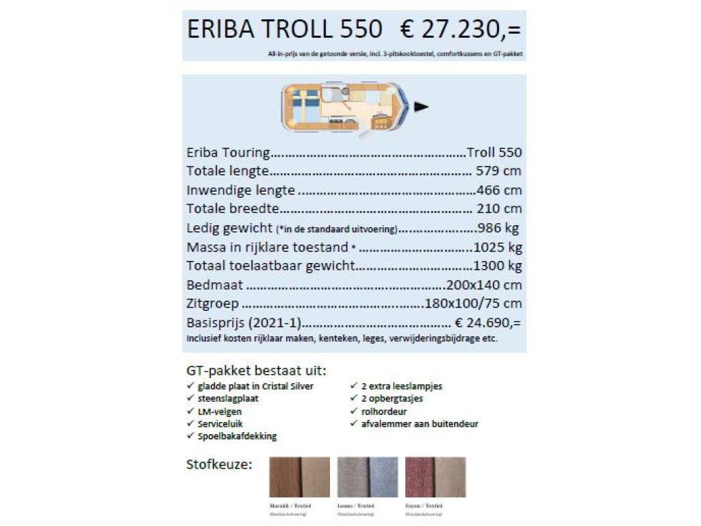 Eriba Touring Troll 550 GT wordt verwacht najaar '21