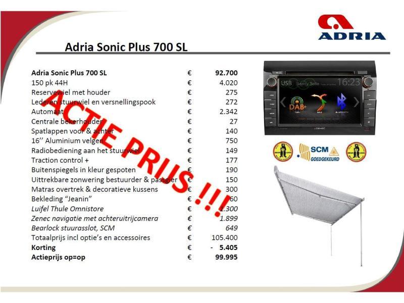 Adria Sonic Plus 700 SL 150 PK 44H - AUTOMAAT - 2019