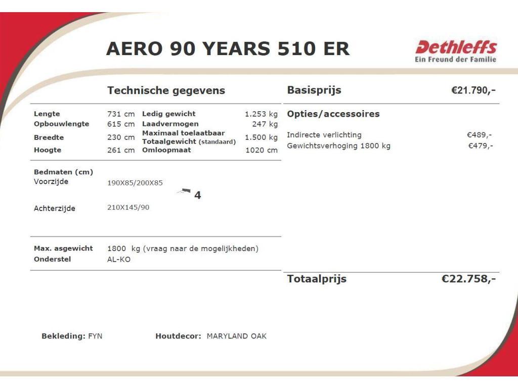 Dethleffs Aero 510 ER 90 YEARS - ENKELE BEDDEN
