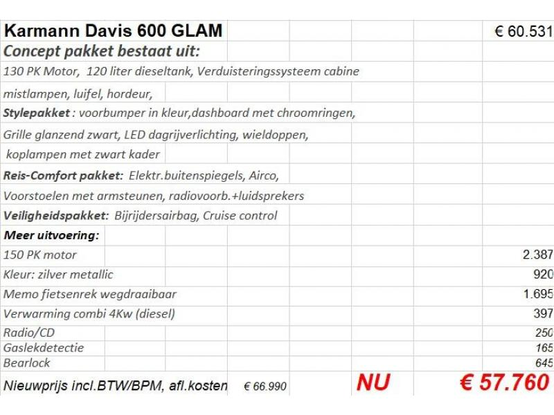 Karmann Davis 600 GLAM lengtebedden XX033G